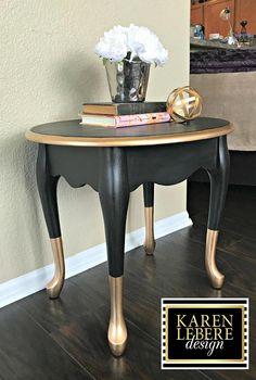 Vintage Furniture Black Gold Nightstand/Side Table/End Table - Vintage Hand Painted Black Gold Furniture, Western Furniture, Recycled Furniture, Table Furniture, Rustic Furniture, Furniture Makeover, Vintage Furniture, Painted Furniture, Furniture Refinishing