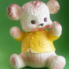 Vintage 1962 Edward Mobley Bear Rubber Squeak Toy with Sleepy Eyes