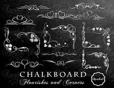 Chalkboard Flourishes Chalk board Clip Art Chalkboard Wedding Clip art Divider clipart Chalkboard frames Rustic Chalk Flourishes Instant