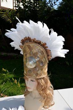 White feather headdress with mother of pearl shells by ISLANDMANA, $195 Feather Headdress, Headpiece, Tahitian Costumes, Island Hair, Tahitian Dance, Polynesian Dance, Money Lei, Hawaiian Luau, Beautiful Costumes