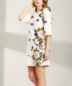 Love this Devoted | Ivory Floral Three-Quarter Sleeve Dress by Devoted on #zulily! #zulilyfinds