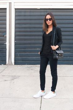25c89cc0f91 black style Stan Smith Outfit Street Styles
