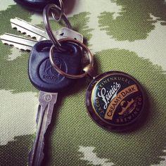 Leinies creamy dark upcycled keychain by MRockStarDesigns on Etsy