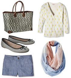 Five for Friday, Vol. 27 – Summer's Coming   Style On Target   chambray shorts, pineapple cardigan, stripe ballet flats and scarf, budget style blog