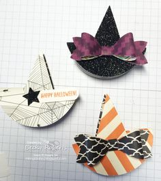 Clip On Halloween Hat Fun! These little Halloween Witches Hats are so fun to clip on … everything! Halloween Paper Crafts, Halloween Favors, Halloween Cards, Holidays Halloween, Halloween Treats, Halloween Fun, Holiday Crafts, Halloween Decorations, Christmas Diy
