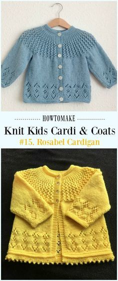 Rosabel Cardigan Free Knitting Pattern – Kinder Sweater Free Patterns Kinder Strickjacke Muster Source by Baby Cardigan Knitting Pattern Free, Baby Sweater Patterns, Knitted Baby Cardigan, Knit Baby Sweaters, Knitted Baby Clothes, Cardigan Sweaters, Knitting Sweaters, Girls Sweaters, Knitting For Kids