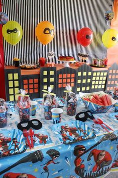 The table settings at this Incredibles Birthday Party are so much fun ! Incredibles Birthday Party, Superhero Birthday Party, Baby 1st Birthday, Shared Birthday Parties, Rosalie, Birthday Party Decorations, Age, The Incredibles, Table Settings