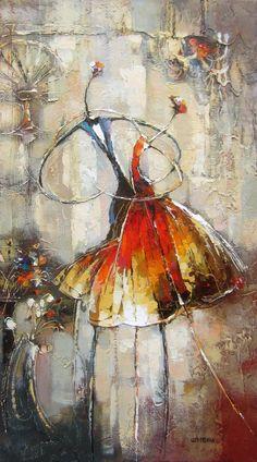 You and me, dancing par Irene Gendelman, artiste présentement exposé aux Galeries Beauchamp. www.galeriebeauchampcom