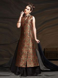 Art Dupion Silk Black and Beige Colored Classic Lehenga Kameeze Designer Party Wear Dresses, Kurti Designs Party Wear, Kurta Designs, Blouse Designs, Dress Indian Style, Indian Dresses, Pakistani Outfits, Indian Outfits, Western Lehenga