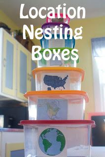 Nesting boxes to demonstrate city, state, etc.
