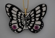 July Birthstone Butterfly Necklace Real Rubies Inset handpainted ceramic by Butterfly June www.BFlyJune.Etsy.com $100.00