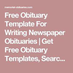 free obituary template sample obituary format info pinterest