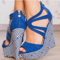 Women's Blue Peep Toe Strappy Wedge Heels Sandals