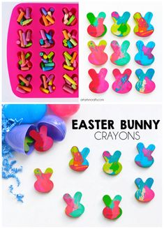 How To Make Easter Bunny Crayons - Perfect for an easy non-candy Easter egg filler! How To Make Easter Bunny Crayons - Perfect for an easy non-candy Easter egg filler! Easter Activities, Easter Crafts For Kids, Preschool Crafts, Easter Ideas, Bunny Crafts, Easter Games, Easter For Babies, Easter With Kids, Easter Basket Ideas