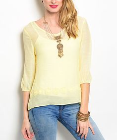 Look at this Yellow Back-Cutout Scoop Neck Top on #zulily today!