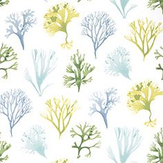 Kelp #wallpaper in #aqua from the Seaside collection. #Thibaut