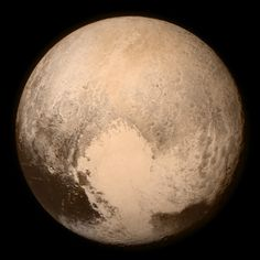 "Pluto (2,370 km), a.k.a. the ""Ninth Planet,"" a plutino (a Kuiper Belt plutoid that is in 2:3 resonance with Neptune) and the first trans-Neptunian object ever discovered. This image was taken in July 2015 by the New Horizons spacecraft."
