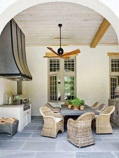 outdoor kitchen on poolhouse veranda