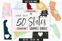 50 States Connecting Graphics Bundle by Clipart Brat Graphics on @creativemarket