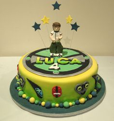 Xavier's choice of birthday cake! Ben 10 Birthday, Birthday Ideas, Birthday Parties, Ben 10 Cake, Alien Cake, Ben 10 Party, Creamsicle Cake, Alien Party, Cupcakes For Boys