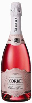 Korbel Sweet Rose is made from Pinot Noir, Zinfandel, Sangiovese, Syrah, Gamay and Chenin Blanc grapes