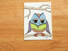 ACEO ORIGINAL ART Owl Drawing Colored Pencil and by MyHumbleJumble, $7.50