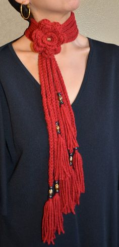 Cherry Red Color This beautiful scarf is decorated with a flower and fancy beads. It keeps you warm and gives you a modern fashion look during those cold winter days. This is an original design perfect for you, or a little gift for a love one. This item is already handmade, in stock and ready for shipping. You can chose any color to match with your clothes. FREE SHIPPING!!