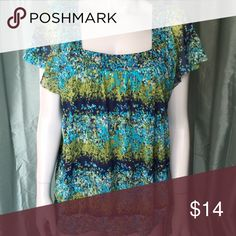 Apt. 9 colorful patterned blouse Gorgeous short sleeve shirt with beautiful pattern. Shades of blue and green on this square neck top. Cute flutter sleeves. Beautiful and flattering blouse is versatile and great for many occasions. Tags: pretty, multicolored, comfortable, soft Apt. 9 Tops Blouses