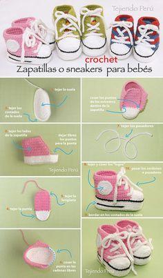 Sneakers o zapatillas para bebés tejidas a crochet! Paso a paso con video tutorial :): Sneakers o zapatillas para bebés tejidas a crochet! Paso a paso con video tutorial :): Booties Crochet, Converse En Crochet, Crochet Baby Boots, Crochet Baby Sandals, Crochet Baby Clothes, Newborn Crochet, Crochet Shoes, Crochet Slippers, Baby Booties