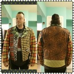 Finished the arms on my jacket , Now just some detail work and I'll be done with the fabric part of this project.#punk #punkstuff #diy #plaid #jacket #punkjacket #plaidjacket #punkrockartsandcraftstime #fabric #leatherjacket #fabricart #art #XXL