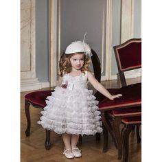 Βαπτιστικό φόρεμα Dolce Bambini από τούλι και δαντέλα σε εκρού απόχρωση, Βαπτιστικά ρούχα κορίτσι οικονομικά, Φόρεμα βάπτισης μοντέρνο-προσφορά, Dolce Bambini βαπτιστικά για κορίτσι νέες παραλαβές eshop