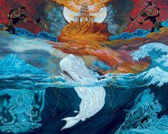 Paul Romano's art for the Mastodon album Leviathan, images via www.workhardened.com