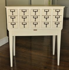 Painted card catalog and hardware