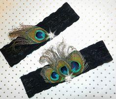 Black Stretch Lace Bridal Garter Peacock by DESIGNERSHINDIGS, $26.00