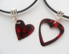 Red Guitar pick necklace his and her's heart set