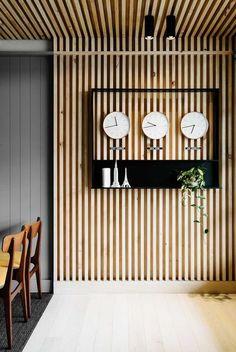 David Flack of Flack Studio - The Design Files Wood Slat Wall, Wood Slats, Wooden Walls, Wood Slat Ceiling, Wood Paneling, Ceiling Panels, Panelling, Ceiling Cladding, Timber Cladding