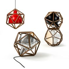 Colorful group of Block 2 lamps by Australian designer Henry Pilcher with a wooden frame