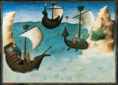 """Ships navigating in the Indian Ocean by means of astronomical instruments. From Mandeville's Travels, in """"Le Livre des merveilles"""" (which also contains the Travels of Marco Polo). Illumination by the Egerton Master, Paris c. 1410-12. BNF MS Français 2810, f. 188 v. Bibliothèque nationale, Paris"""