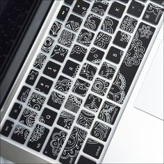 Protect your Macbook keyboard from dust, spills and key wear with the flexible Paisley Keyboard Cover. Keys are individually molded and keywords are printed on the cover. Macbook Keyboard Cover, Iphone Macbook, Macbook Case, Macbook Decal, Laptop Cases, Phone Cases, Mac Book Cover, Macbook Pro Accessories, Support Telephone