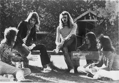 L-R Chris Squire, Steve Howe, Alan White, Jon Anderson and Patrick Moraz of Yes pose for a group portrait in 1974 in the United Kingdom.