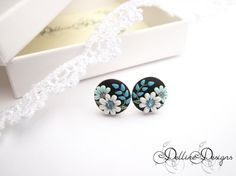 Tiny Blue Unique Polymer Clay Earrings by DellineDesigns on Etsy