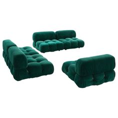 Mario Bellini Camaleonda Modular Sofa in Original Green Upholstery | From a unique collection of antique and modern sofas at https://www.1stdibs.com/furniture/seating/sofas/