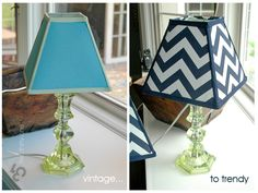 recovering a lampshade - vintage to trendy.