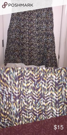 🎉FLASH SALE!🎉 Midi length skirt Liz Claiborne size 2X skirt. It is 100% cotton with an elastic waist. Colors are chocolate, gold, green, and tan. It reminds me of a tribal print. No holes, stains, or rips. Liz Claiborne Skirts Midi