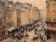 Camille Pissarro (French, Impressionism, Rue Saint Lazare under Snow, Oil on canvas, 27 x 35 cm. Mary Cassatt, Post Impressionism, Impressionist Art, Claude Monet, Renoir, Camille Pissarro Paintings, Most Famous Paintings, Painting Snow, Le Havre