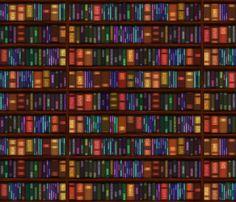 Old Bookshelves fabric by bonnie_phantasm on Spoonflower - custom fabric