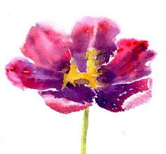 Pink Floral Watercolour Greetings Cards,Tulip Flower Watercolor Art Card Blank Note card set Painted Notecards