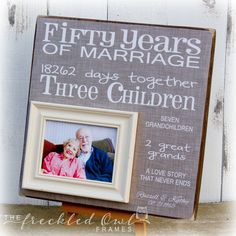 Anniversary Gift, Golden Anniversary, Fifty Years of Marriage Picture Frame, Grandparent Gift 16 X 16 - Mima gifts - 50th Wedding Anniversary Wishes, Wedding Anniversary Pictures, Homemade Anniversary Gifts, Wedding Anniversary Invitations, Anniversary Gifts For Parents, Birthday Gifts For Sister, Anniversary Ideas, Wedding Aniversary, 80th Birthday