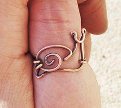 Snail Ring. Wire Snail. Copper. Oxidized. Wire Jewelry
