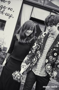 Soon-to-wed actress Gu Hye-sun and actor Ahn Jae-hyun released their wedding photos taken on Korea's offshore vacation spot Jejudo Island on Friday via Marie Claire magazine's official website. New Actors, Actors & Actresses, Asian Actors, Korean Actors, Korean Dramas, Gu Hye Sun, Cinderella And Four Knights, Hye Sung, Ahn Jae Hyun And Goo Hye Sun